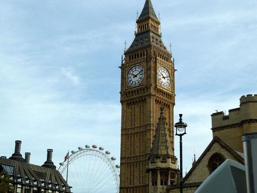Foto © Margot S. Baumann: Big Ben und im Hintergrud das London Eye