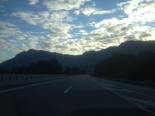 The highway is still on the swiss area - the huge wall is Liechtenstein