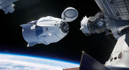 Crew Dragon nutzte beim Andocken an der ISS das CUCU System bei 400,15-401,0 MHz - Bild Credits: NASA/Space-X