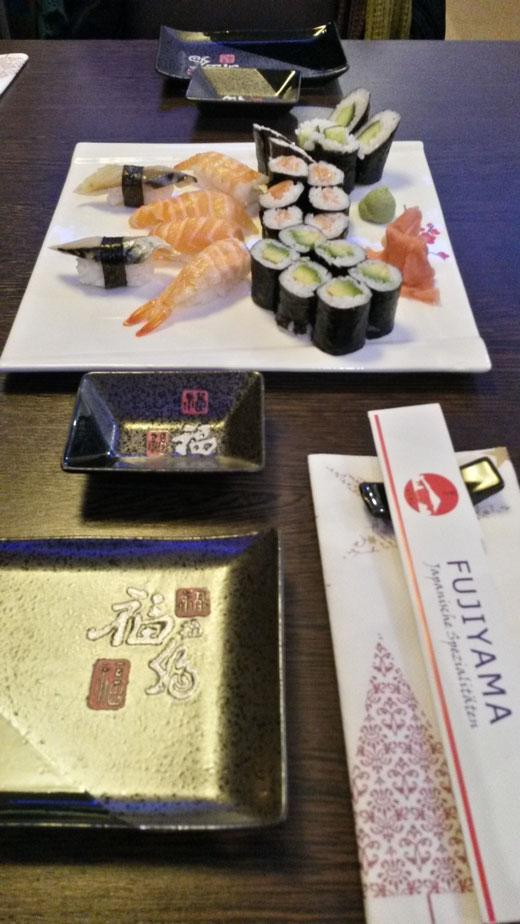 Werbung! Vorzügliches Abendessen mit Sushi und Ente im Fukushima, Kleve