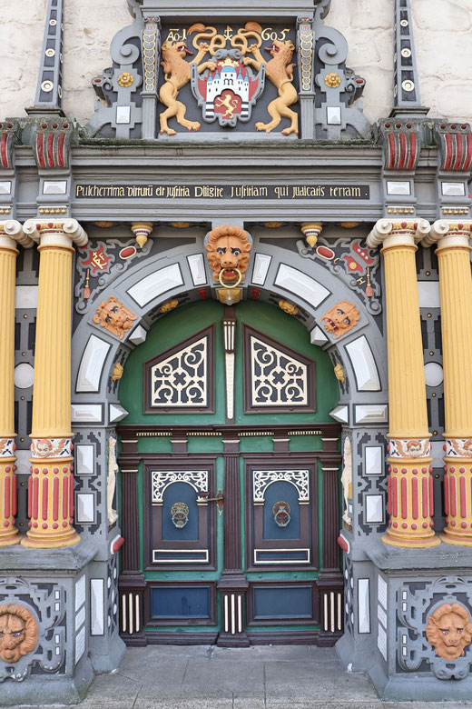 Rathausportal in Hann. Münden, im Stil der Weserrenaissance