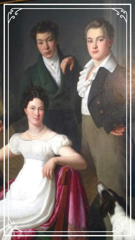 Portrait von der Unternehmerin Brügelmann und ihren zwei Söhnen/Haus Cromford