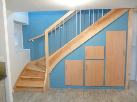 Artisan fabricant d'escaliers sur mesure-Escaliers bois,rampes métal,verre,inox et câbles.