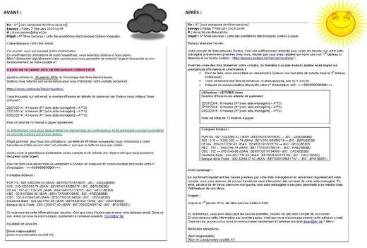 Le courrier standard d'une entreprise de titres-services: version originale (avant) et version réécrite (après)