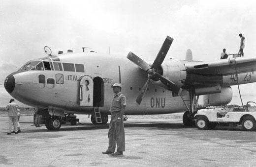 Il C119, con le insegne ONU, impiegato in Congo (foto Aeronautica militare)
