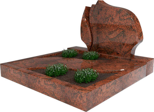 Steinmetz Prenzlau - Urnengrab mit Umrandung und Abdeckplatte rötlich Moderner Grabstein