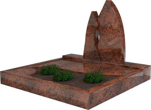 Steinmetz Torgelow Urnengrabstein mit Umrandung und Abdeckplatte rötlich