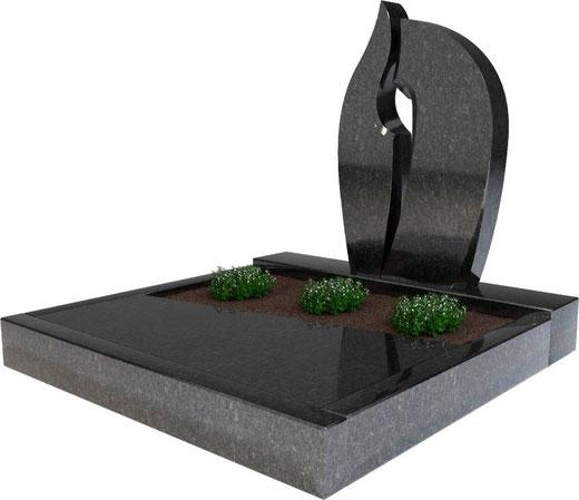 Steinmetz Ueckermünde - Urnengrab mit Umrandung und Abdeckplatte in schwarz, Moderner Grabstein