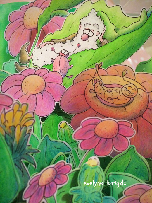 Brunos Wiesenwichtelwelt von Eve Lorig (gezeichnet, koloriert, ausgeschnitten) - Atelier SonnenblumenEve