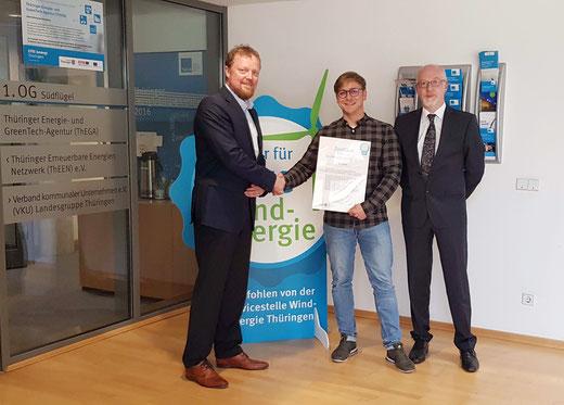 """iTerra energy erhält Zertifikat """"Partner für faire Windenergie"""" von Freistaat Thüringen"""