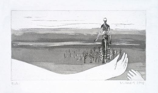 Michael Hedwig, Sterntaler, 2008, Radierung, Papierformat: 27x38cm