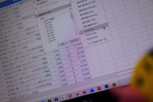 パソコン教室スタディPCネット大分高城校のエクセル上達ワンポイント|エクセルのテーブル機能を活用して上位項目、下位項目だけのデータを表示する