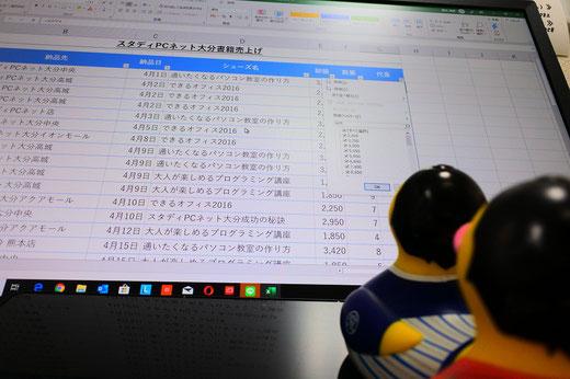 パソコン教室スタディpcネット大分高城校のエクセル上達ワンポイント|エクセルのテーブル化でラクラクデータの並べ替え