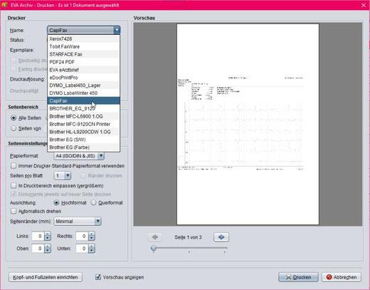 abasoft EVA Praxissoftware Arztsoftware EVA Archiv Fax