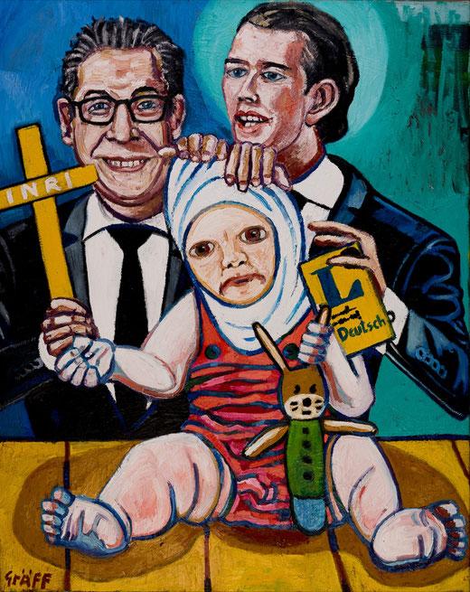 """Matthias Laurenz Gräff, """"Liebende Eltern"""", oil on canvas, 100x80cm, 2018"""
