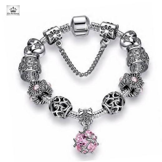 bracelet femme composable esprit pandora argent plaqué breloque décorative charm