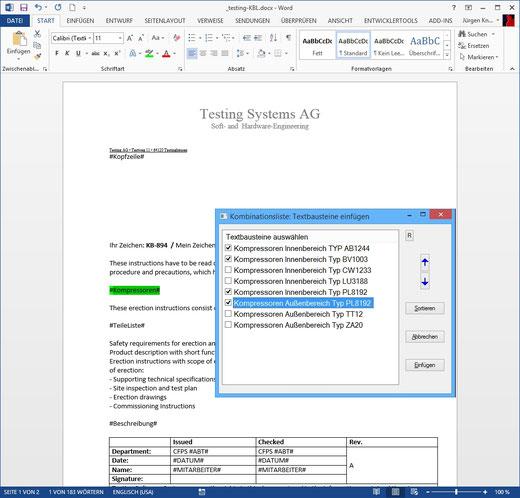 Textbausteinlisten im Text (Kombinationsliste)
