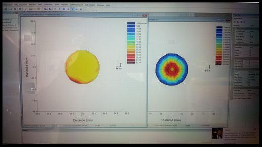 A sinistra distribuzione dei diametri, a destra  la mappa della densita, tutto calcolato nella stessa sezione dello spray