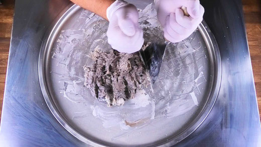 chopping ice cream