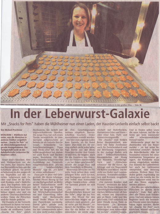 Snacks for Pets Offenbach Post Zeitungsartikel Daniela Born