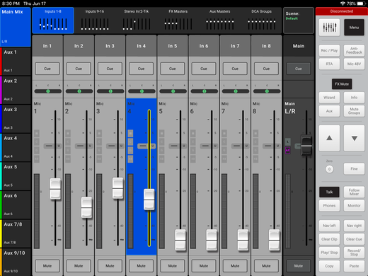 Digital mixer fader display which can be used to increase or lower microphone volume.