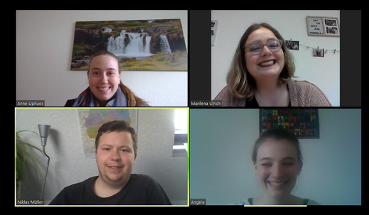 Der Sachausschuss im Homeoffice:  Niklas, Angela, Anne und Marilena (s. Foto). Für die Diözesanleitung ist Laura dabei und für die Diözesanstelle Tim.