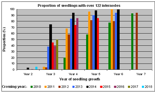 Graph of proportion of seedlings attaining 122 internodes after successive years of growth