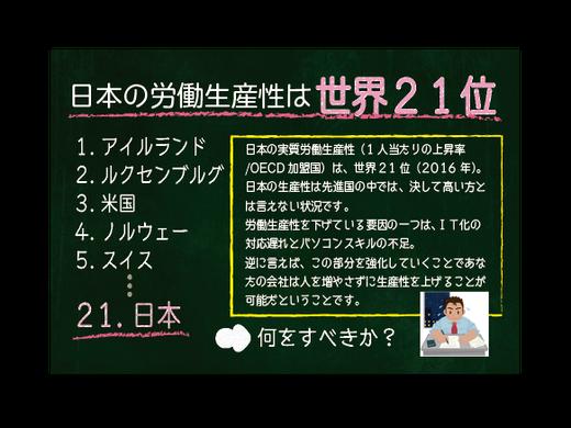 スタディPCネット大分高城校の社員教育「日本の労働生産性は世界21位」