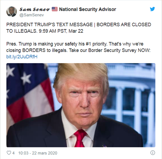 To the great joy of his fan base, President Trump decides to close the US border in March.