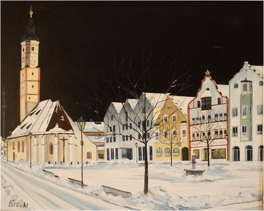 Nr.90 Dorfen, Winterliche Marktkirche.