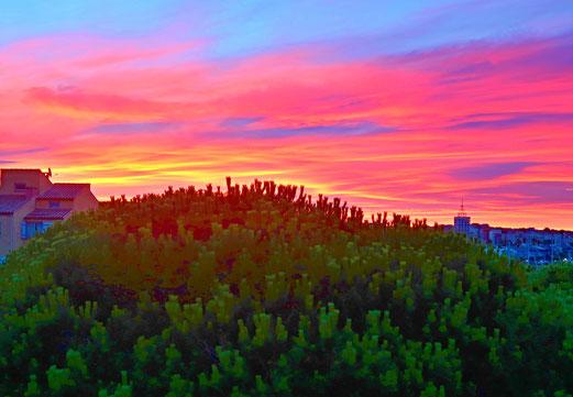 27. Juli 217 - Schon wieder ein Sonnenaufgang. Überall in der Welt der gleiche Himmel - zu anderen Zeiten