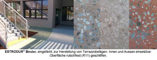 Terrazzo im Freien - Estrodur geschliffen - farbige Aussengestaltung