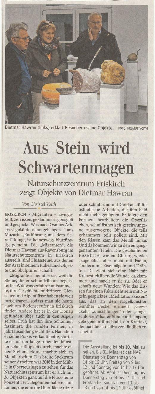 Artikel aus der Schwäbischen Zeitung vom 14. 2. 2020 mit Bild von Helmuth Voith
