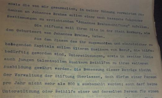 Testament Johannes Brahms Stiftung