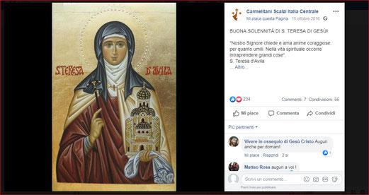 Face-book Carmelitani Scalzi Italia Centrale 15 Ottobre 2016