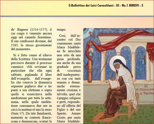 E-bollettino dei Laici Carmelitani 2016 - III - N- 1 MMXVI - 6 riproduzione dell'articolo di Chiara Vasciaveo, S. Maddalena de' Pazzi. Il tesoro nascosto in 30Giorni del 2007
