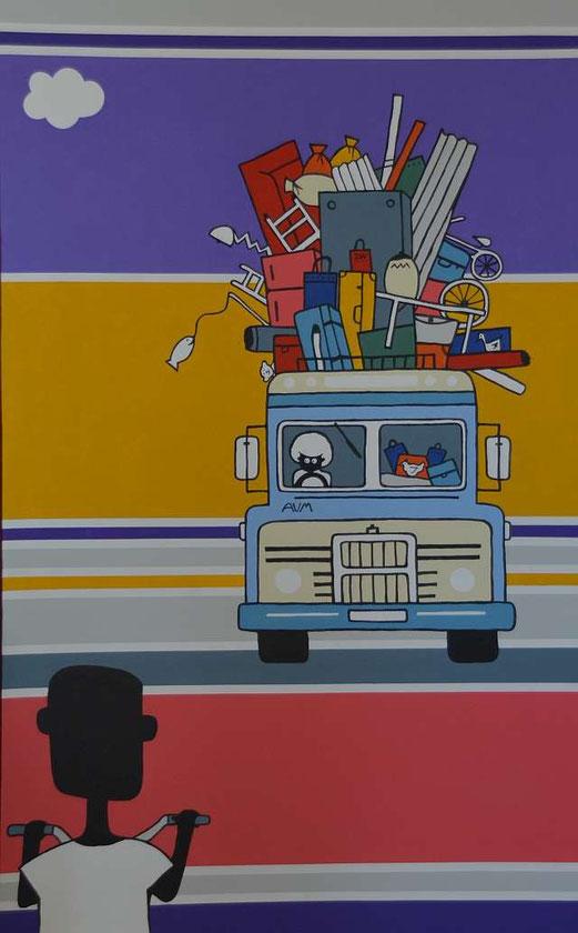 NALA und der große Bus, 135cm x 85cm, Acrylfarbe auf Leinwand )