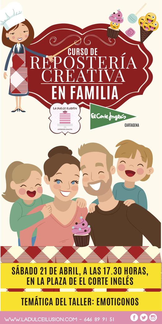 Curso repostería en familia La dulce ilusión en El Corte Inglés Cartagena, Murcia. Taller de repostería infantil con padres. Actividad para niños en Cartagena, Murcia