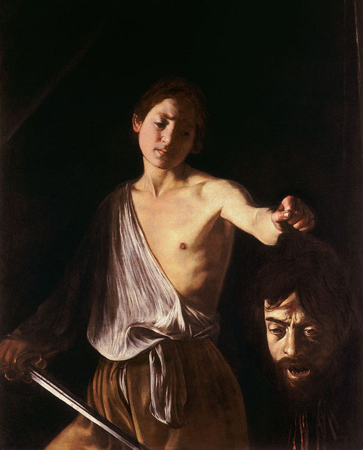Michelangelo Merisi da Caravaggio dit le Caravage, David et Goliath, 125 × 101 cm, 1606 - 1607, Galerie Borghèse, Rome.