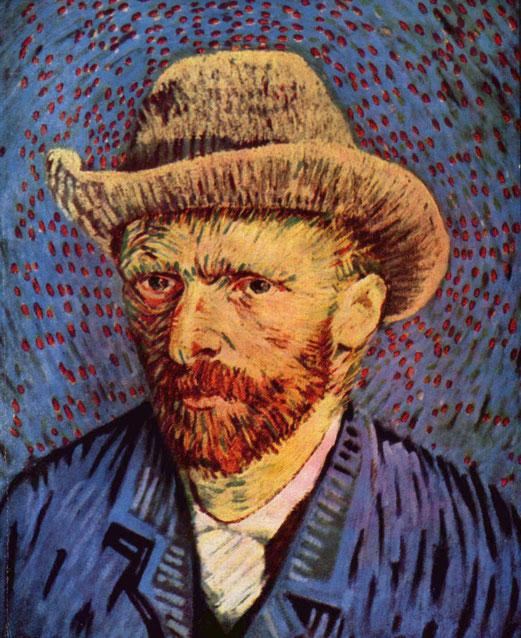 Autoportrait au chapeau de feutre gris de Vincent Van Gogh, huile sur toile,  1887-1888, Musée van Gogh