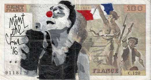 SPRAY FOR LIFE, Pochoir original sur billet de banque / 100 francs / Delacroix, 2016. Dimensions 16x8,5cm.