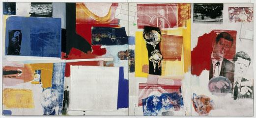 Robert Rauschenberg, Axle, 1964, huile et sérigraphie sur toile, 275x610 cm, Museum Ludwig à Cologne en Allemagne.