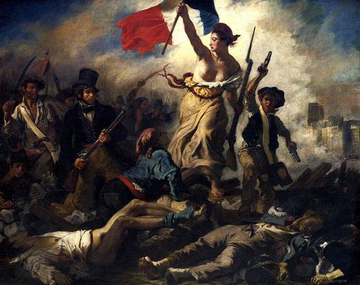 Eugène Delacroix, La Liberté guidant le peuple, huile sur toile, 260 × 325 cm, 1830, Musée du Louvre, département des peintures, Paris (France).