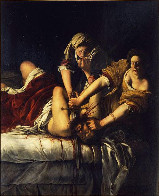 Artemisia Gentileschi, Judith décapitant Holopherne, 199 × 162,5 cm, 1620 - 1621,  musée des Offices (199 × 162,5 cm).