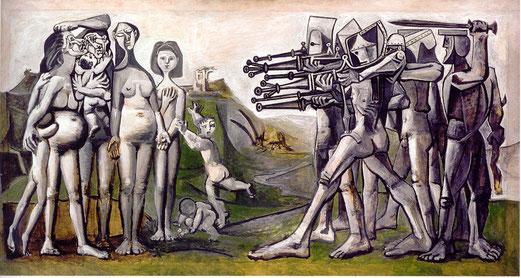 Massacre en Corée, Pablo Picasso (1881-1973), 18 janvier 1951, huile sur contreplaqué, 110 × 2101 cm, Musée Picasso, Paris.