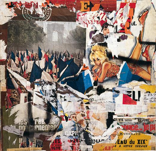 Boulevard de la Villette, mars 1971 Affiches lacérées marouflées sur toile, 148 x 152 cm Collection Fonds régional d'art contemporain Bretagne