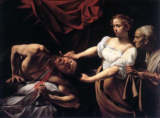 Judith décapitant Holopherne, par Caravage, 145 × 195 cm, 1598, Galerie nationale d'art ancien (Rome).