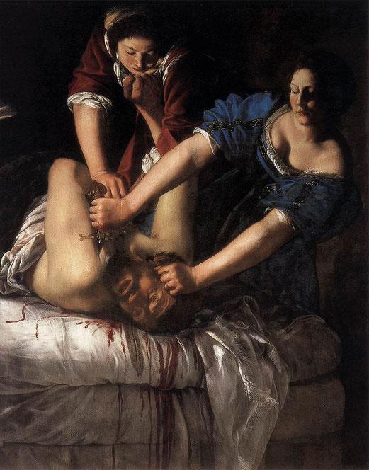 Artemisia Gentileschi, Judith et Olopherne, Huile sur toile, 158,8 × 125,5 cm, 1612, Musée Capodimonte de Naples, Naples.
