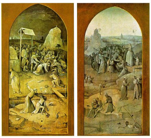Jérôme Bosch, Triptyque de Saint Antoine fermé, huile sur bois, 131.5 x 53 et 131.5 X 119 puis 131.5 x 53, 1506, Musée Lisbonne.