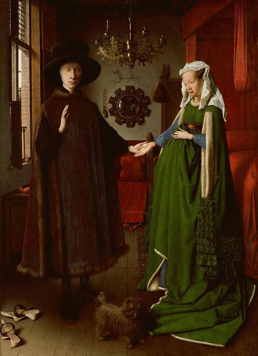 Jan van Eyck, Les époux Arnolfini, huile sur panneau de chêne, 82.2 × 60 cm, 1434, National Gallery, Londres.